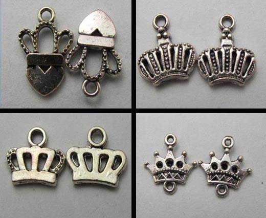 Buy Zamak / Brass Zamak Silver Plated Beads and Charms  Crown  at wholesale prices