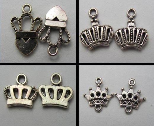 Buy Zamak und Kupfer Magnetverschlüsse für Leder und Lederschnüre Versilberte Zamak Anhänger Krone  at wholesale prices