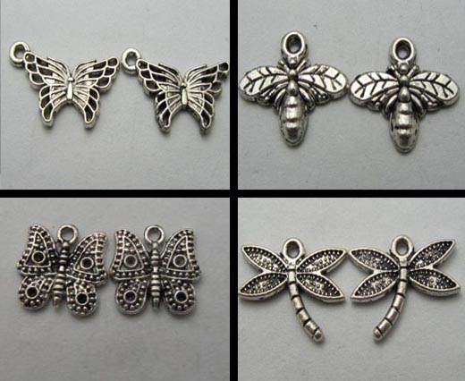 Buy Zamak / Brass Zamak Silver Plated Beads and Charms  Butterfly  at wholesale prices