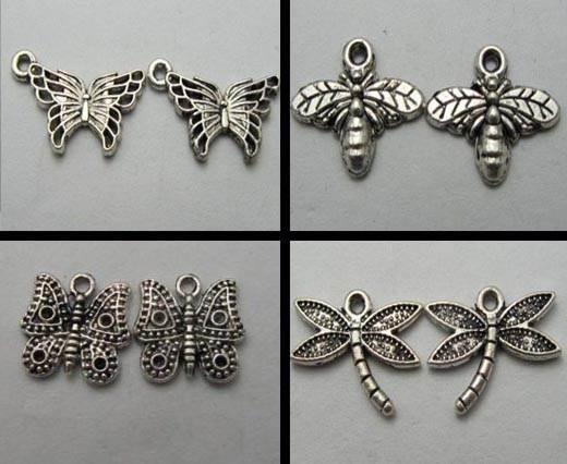 Buy Zamak und Kupfer Magnetverschlüsse für Leder und Lederschnüre Versilberte Zamak Anhänger Schmetterling  at wholesale prices