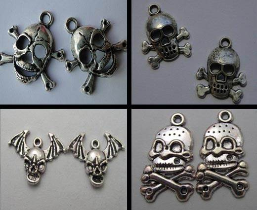 Buy Zamak / Brass Zamak Silver Plated Beads and Charms  Skull  at wholesale prices