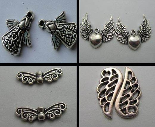 Buy Zamak / Brass Zamak Silver Plated Beads and Charms  Wings  at wholesale prices