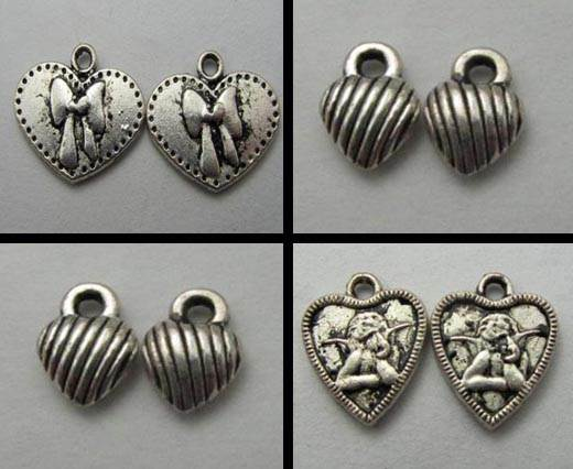 Buy Zamak / Brass Zamak Silver Plated Beads and Charms  Hearts  at wholesale prices