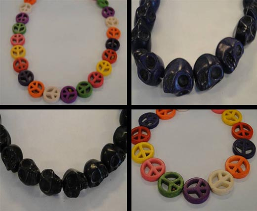 Buy Beads Skull and Peace Signs  at wholesale prices