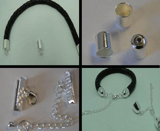 Buy Beads Silver plated parts for leather  at wholesale prices