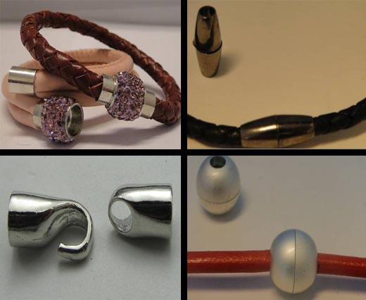 Zamac and Copper Magnetic Locks for Round Leather Cords
