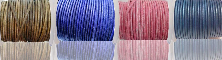 Buy Leather Cord Round Leather 4mm Metallic  at wholesale prices
