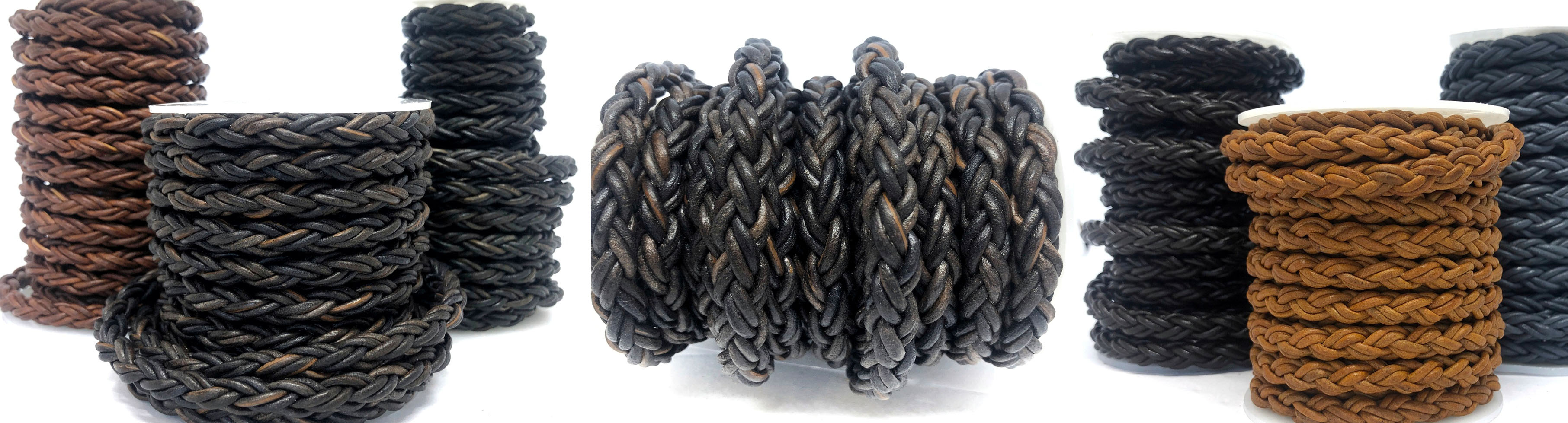 Buy Leather Cord Braided Leather Round 8mm Round Bolo Twist Leather Cord  at wholesale prices