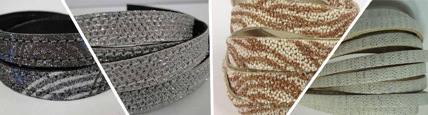 Buy Cordons en Cuir Nappa Plat Avec strass  at wholesale prices