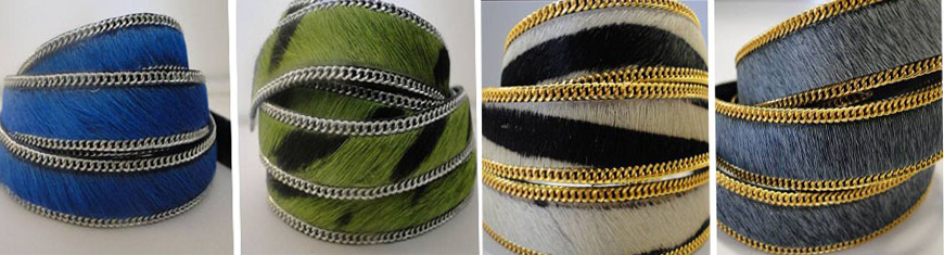 Buy Leather Cord Hair-On Leather  Hair-on Leather with Stitched Chains  at wholesale prices