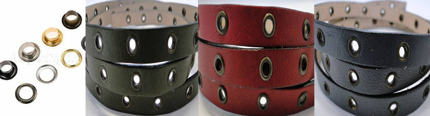 Buy Leather Cord Flat Leather Stitched and Studded Leather Cord  Leather with Hollow Rivets   at wholesale prices