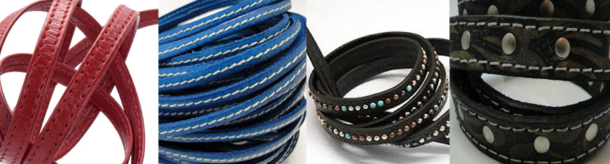 Buy Leather Cord Flat Leather Stitched and Studded Leather Cord   at wholesale prices
