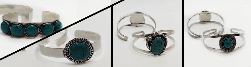 Buy Zamak, cuivre et laiton Base pour bracelet en zamac Turquoise Stone Brass Cuffs  at wholesale prices