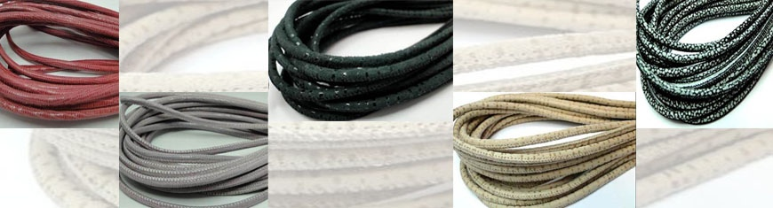 Buy Leather Cord Nappa Leather Cord Round Stitched Nappa Leather 4mm Round Lizard Leather   at wholesale prices