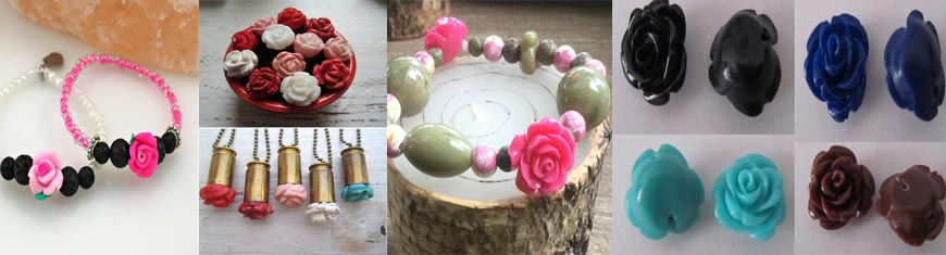 Buy Beads Rose Flowers in Stone 8mm  at wholesale prices