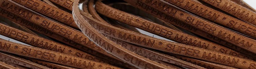 Buy Leather Cord Flat Leather with Text Embossed Super Maman  at wholesale prices
