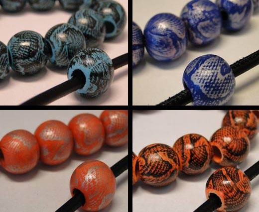 Snake Style Wooden Beads - 6mm hole
