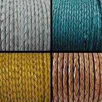 Round Braided Leather Cords - 8 mm