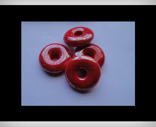 Perles donuts en céramique - 27 mm