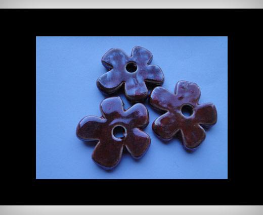 Perles fleurs en céramique - 37 mm