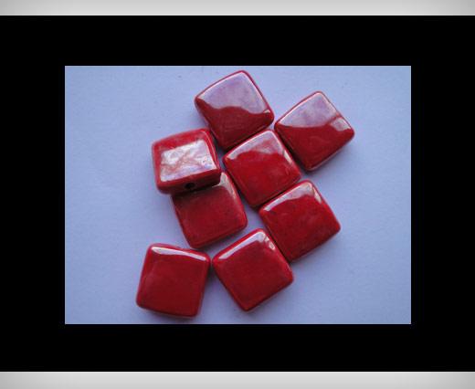 Perles plates carrées en céramiques - 20 mm*20mm