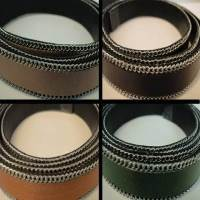 Real Nappa Leather - Flat Cords with Steel Chains - 10 mm