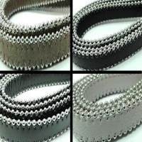 Real Nappa Leather - Flat Cords with Steel Chains - 14 mm