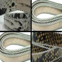 Real Nappa Leather - Flat Cords with Steel Chains - 20 mm