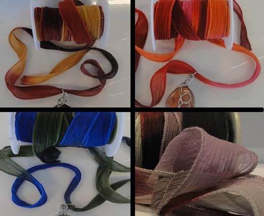 Pure Silk Multicoloured Chiffon Ribbons