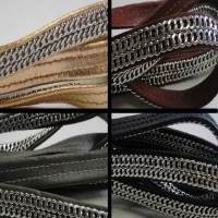 Real Nappa Leather - Flat Laces with Double Stainless Steel Chain