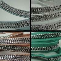 Real Nappa Leather - Flat Cords with Stainless Steel Chain