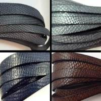 Real Italian Leather - Flat Laces with Embossing