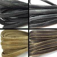 Real Italian Leather - Flat Laces with Fabric