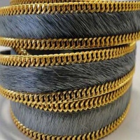Hair-On Leather with Gold Chain