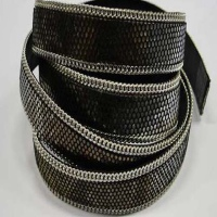 Hair - On Leather with Chains in Silver - 14 mm
