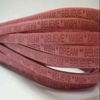 Leather with Names - Wish Dream Believe - 5 mm