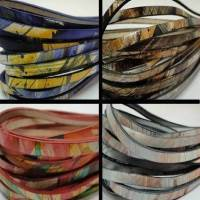 Real Italian Leather - Flat Multicolour Cords - 5 mm