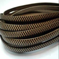 Real Italian Leather - Flat Cords with Chess Design - 5 mm