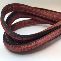 Real Nappa Half Round Leather Cords with Stitches