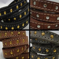 Vintage Style Flat Leather With Stitches and Studs - 14 mm