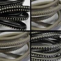 Real Nappa Round Leather Cords with Studs - 6 mm