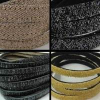 Real Nappa Leather - Flat Laces with Glitter