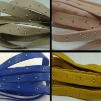 Real Nappa Flat Leather Cords with Studs
