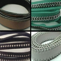 Real Nappa Leather - Flat Laces with Stitched Stainless Steel Chain