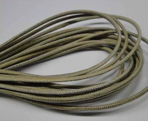 Round stitched nappa leather cord 2.5MM-Lizard style-Light Sand