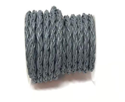 Round Bolo Twist Leather Cord-6mm- Grey