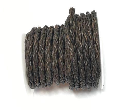 Round Bolo Twist Leather Cord-6mm-vintage grey
