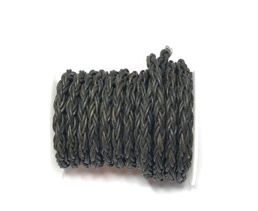 Round Bolo Twist Leather Cord-6mm- vintage grey