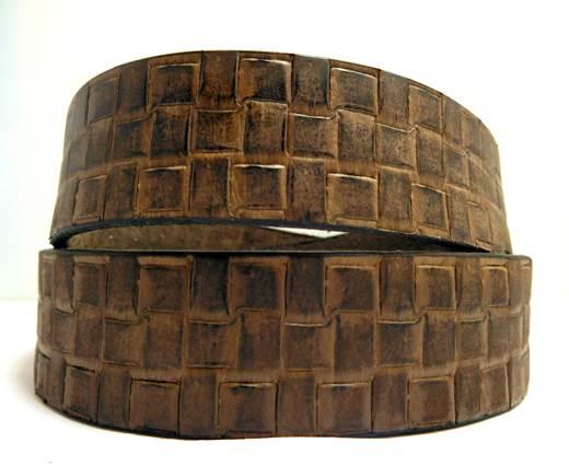 Vintage Style Flat Leather - 30mm-Big matt waxi brown