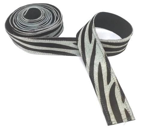 Hair-On Leather Belts-BLUE ZEBRA